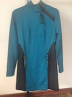 Платье бирюза кожаные вставки