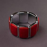 Браслет женский красный перламутр прямоугольные звенья 3,5х2,5см на резинке