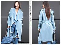Женское пальто с отложным воротником цвет голубой