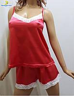Атласная женская пижама майка с шортами р.44-50
