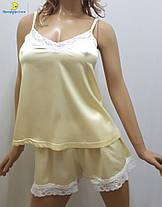 Атласная женская пижама майка с шортами, р-р от 44 до 50, Харьков, фото 2