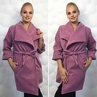 Женское пальто с поясом кашемир 48-52 рр. Батал