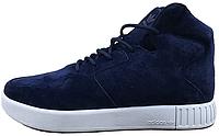 Мужские высокие кроссовки Adidas Originals Tubular Invader 2.0 (Адидас Тубулар) темно-синие