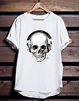 """Белая футболка мужская с принтом""""Skul"""" с черепом спортивная удлиненная хлопковая"""