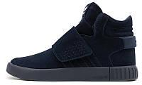 Мужские высокие кроссовки Adidas Tubular Invader Strap (Адидас Тубулар) синие