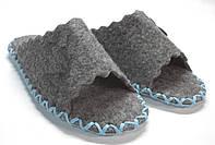 Войлочные тапочки-шлепанцы женские комнатные с голубым шнурком, фото 1