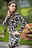 Платье женское ангоровое серого цвета, платье леопардовое по фигуре, фото 3