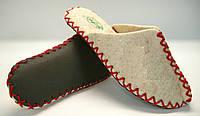 Домашние войлочные тапочки из натуральной шерсти женские с красным шнурком