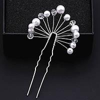 Свадебная шпилька с жемчугом ювелирная бижутерия посеребрение 4747с