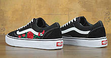 Женские кеды Vans Old Skool Roses Black, Ванс Олд Скул, фото 3