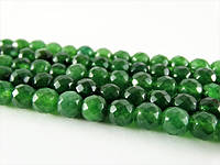 Зелёный Граненый Нефрит, На нитях, бусины 8 мм, Гладкий шар, Отверстие 1 мм, количество: 47-48 шт/нить