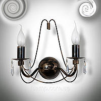 Бра на 2 свечис хрусталем asfour NBL19730_черный глянец
