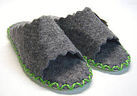 Женские войлочные тапочки-шлепанцы для дома с зелёным шнурком