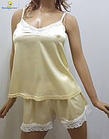 Атласная женская пижама майка с шортами р.44-50 283-2