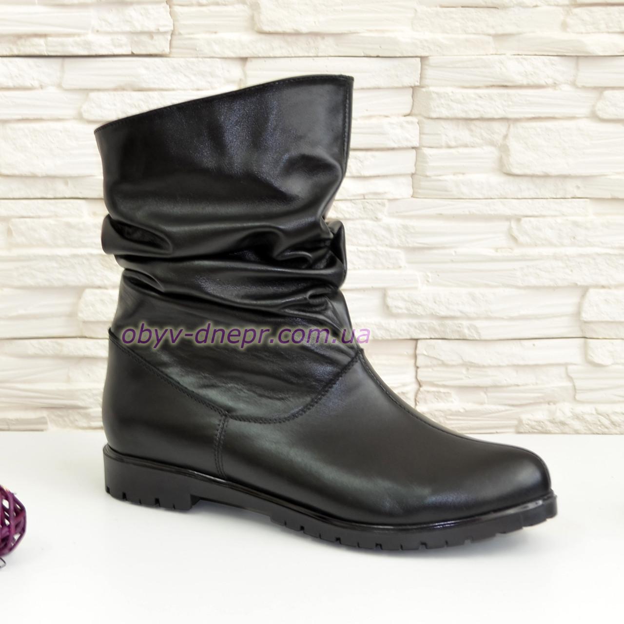 Женские кожаные   ботинки свободного одевания.