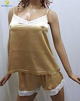 Атласная женская пижама майка с шортами р.44-50 283-3