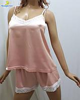 Атласная женская пижама майка с шортами р.44-50 283-6