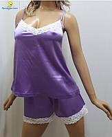 Атласная женская пижама майка с шортами, р-р от 44 до 50, Харьков сирень