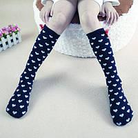Гольфы - чулки для девочки  Темно синие в сердечко  Оптом
