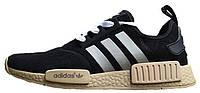 Мужские кроссовки Adidas NMD Suede Black (Адидас НМД) замшевые черные