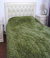 Одеяло покрывало меховое травка утеплённое холлофайбером 210*230 Зеленый