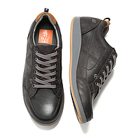 Мужские кожаные комфортные серые спортивные туфли на каждый день Mazaro SD80