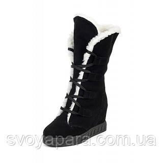 Женские зимние замшевые ботинки с подкладкой из шерсти на подошве ТЭП