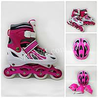 Комплект Power Champs (ролики, защита, регулируемый шлем), розовый, M (30-34), (34-37)