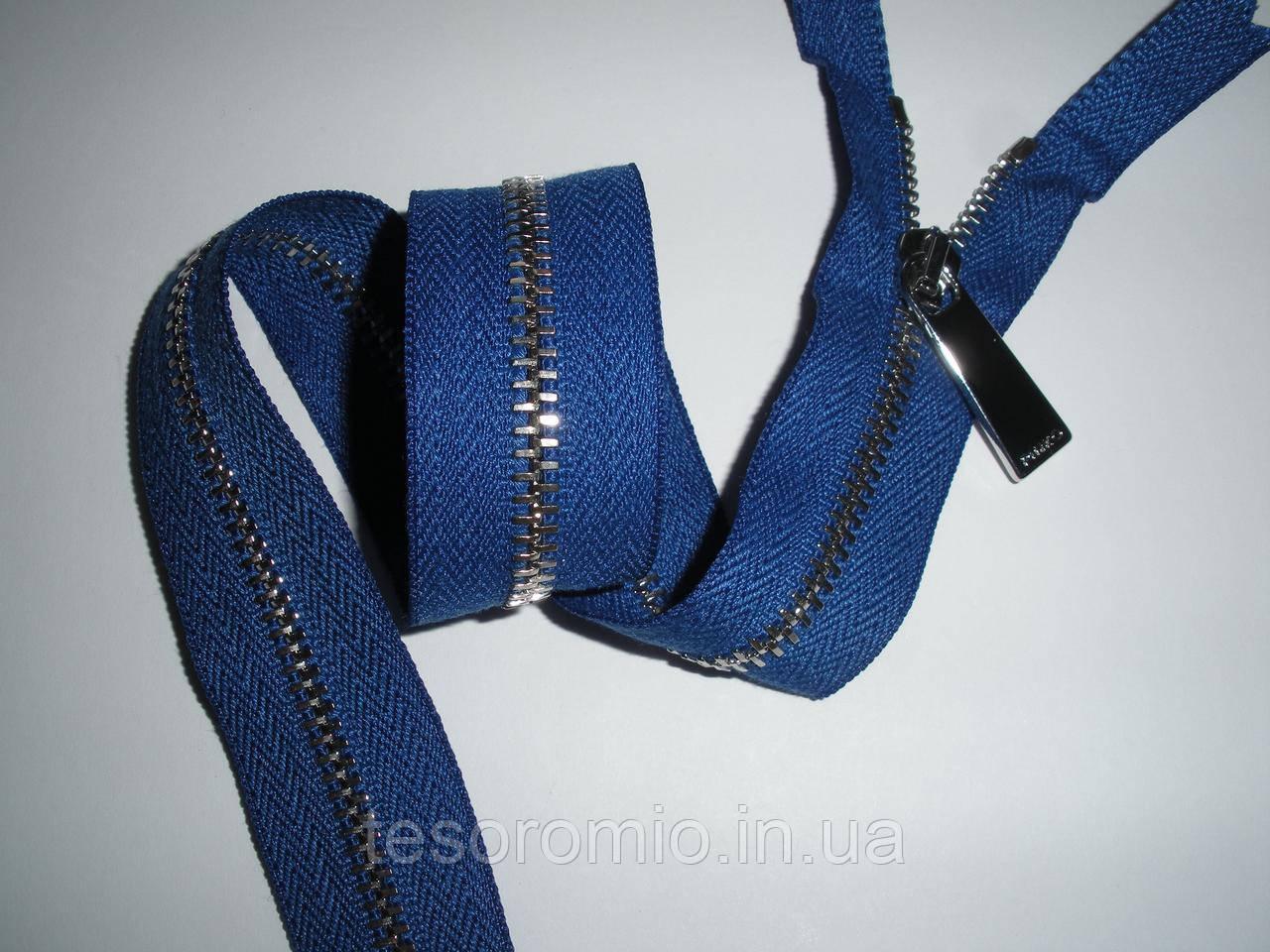 Молния металлическая неразъемная 40 см тип 3. Основа - синий электрик, цвет звена - серебро.