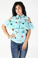 Блуза-рюша с абстрактным принтом
