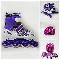 Комплект Power Champs (ролики, защита, регулируемый шлем), фиолетовый, M (30-34), (34-37)