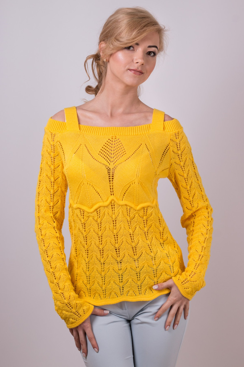 Красивая легкая ажурная майка на бретелях Анита желтый - FaShop  Женская одежда от производителя в Харькове