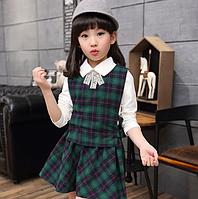Шкільна форма для дівчинки, блузка+жилет+спідницячервоний, 120