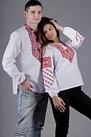 Пара вышиванок для мужчины и девушки, белая рубашка и красный узор