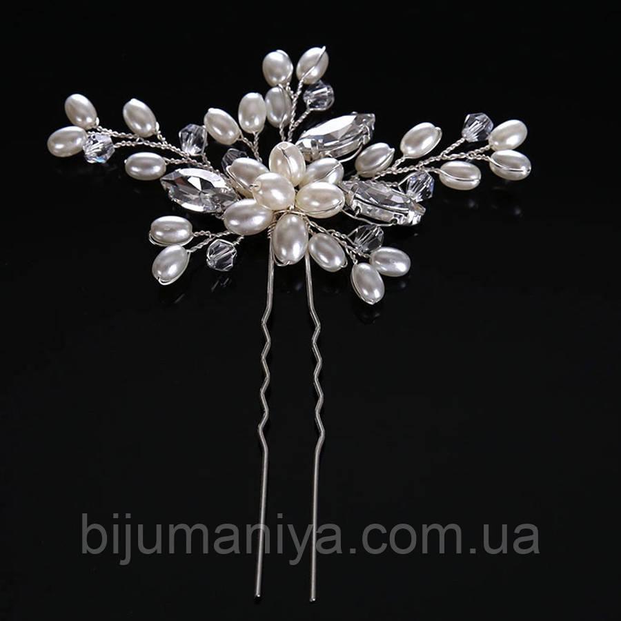 Весільна шпилька з перлами ювелірна біжутерія сріблення 4753с