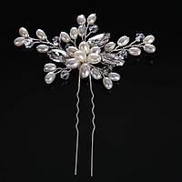 Весільна шпилька з перлами ювелірна біжутерія сріблення 4753с, фото 1