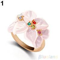 Кольцо женское Цветы 17,5 размер