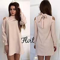Платье стильное мини с вырезами на плечах креп-костюмка 5 цветов SMfL1691