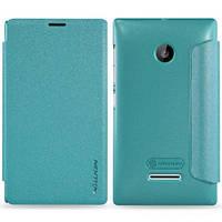 Кожаный чехол (книжка) Nillkin Sparkle Series для Microsoft Lumia 435 Dual Sim распродажа Бирюзовый