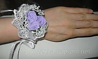 Свадебный цветок-браслет для свидетельницы (цвета - в ассортименте)