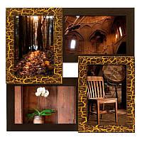 Настенная рамка для фотографий Руноко на 4 фотографий (золотой шоколад)