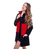 Пальто женское на пуговицах двухцветное