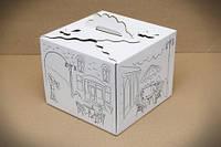 Картонная коробка для торта Бабочка 3 штуки с Рисунком (250*250*200 мм)