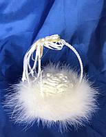 Подушечка для колец с пухом белая