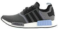 Мужские кроссовки Adidas NMD R1 Runner Primeknit Grey (Адидас НМД) серые