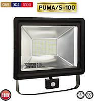 LED Прожектор 100W с датчиком движения/IP65/6500K/ «PUMA/S-100», фото 1