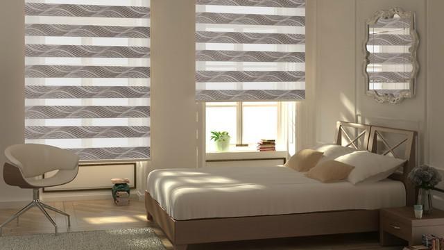Рулонные шторы День Ночь для спальни