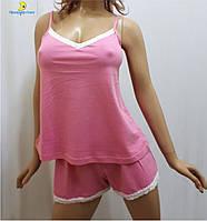 Домашний костюм женский шорты с майкой, пижама от 44 до 50 р-ра, Харьков Розовый