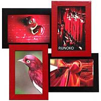Настенная рамка для фотографий Мельница на 4 фотографий (красно-чёрный)