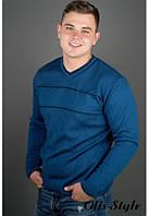 Мужской свитер Стас голубой (46-50)